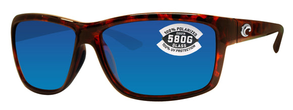 Costa Del Mar Mag Bay Tortoise Frame Blue Mirror 580G Glass Polarized Lens