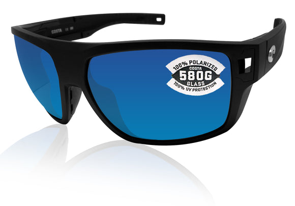 Costa Del Mar Diego matte black frame blue mirror 580 glass lens
