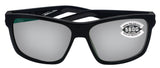 Costa Del Mar Slack Tide Black Frame Gray Silver Mirror 580 Glass Polarized Lens