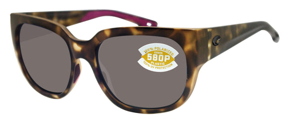 Costa Del Mar Waterwoman Matte Shadow Tortoise Frame Gray 580 Plastic Polarized