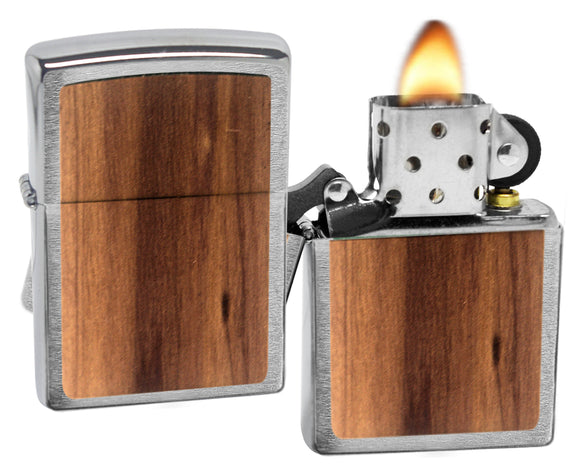 Zippo Lighter 29900 Woodchuck USA Cedar Emblem Brushed Chrome Windproof New