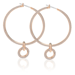 Swarovski stone pierced earring set pink rose-gold 5426004