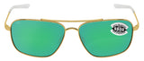 Costa Del Mar Canaveral Shiny Gold Frame Green Mirror 580G Glass Polarized Lens