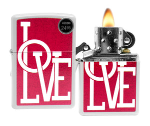 Zippo 29085 Love White Matte Finish Windproof Pocket Lighter New