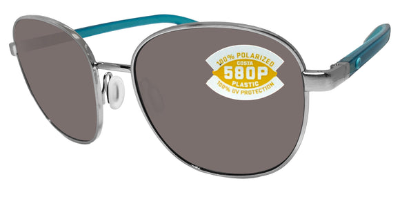 Costa Del Mar Egret Brushed Silver Frame Gray 580 Plastic Polarized Lens