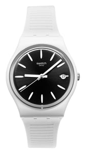 Swatch Originals GW410 Anti Slip Black Analog Date Dial White Rubber Band Watch