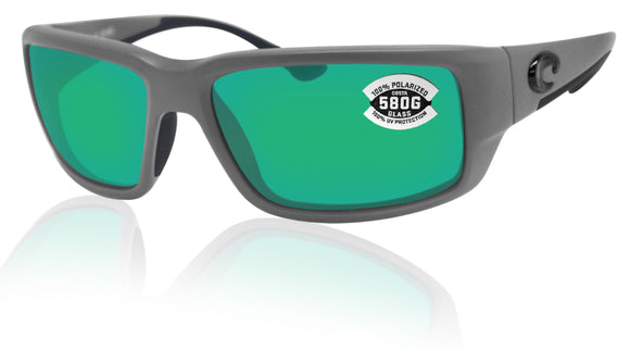 Costa Del Mar Fantail Gray Frame Green Mirror 580G Glass Polarized Lens