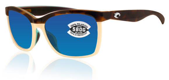 Costa Del Mar Anaa Retro Tort Cream Frame Blue Mirror 580 Glass Polarized Lens