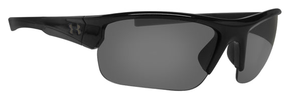 Under Armour 8600106-000100 propel shiny black rubber frame gray lens new