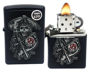 Zippo 29489 Sons of Anarchy Emblem Black Matte Finish Windproof Pocket Lighter