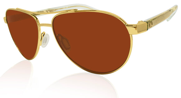 Costa Del Mar Fernandina shiny gold frame copper 580 glass lens FER 126 OCGLP