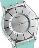 Swatch SFK397 Summer Breeze Grey Dial Blue Silicone Rubber Band Watch, NEW