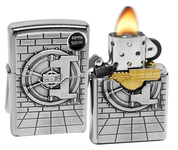 Zippo 29555 Safe with Gold Cash Surprise Brushed Chrome Finish Emblem Lighter