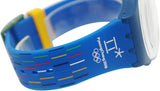 Swatch SUOZ277 Petits Batons Pyeongchang 2018 Blue Silicone Band Watch New