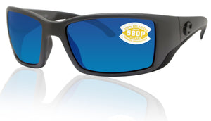 Costa Del Mar Blackfin Matte Gray Frame Blue Mirror 580P Plastic Polarized Lens