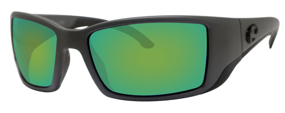 Costa Del Mar Blackfin Matte Gray Frame Green Mirror 580G Glass Polarized Lens
