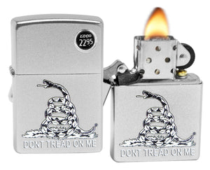 Zippo 29841 Don\'t Tread on Me Flag Snake Satin Chrome Finish Windproof Lighter