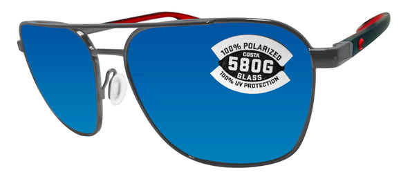 Costa Del Mar Wader Dark Gunmetal Frame Blue Mirror 580 Glass Polarized Lens
