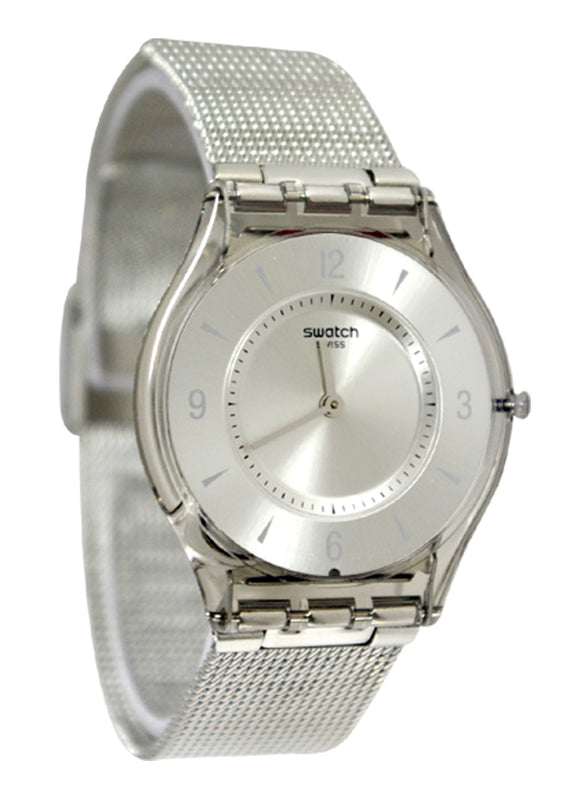 Swatch SFM118M Metal Knit Silver Dial Metal Bracelet Women Skin Watch NEW