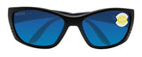 Costa Del Mar Fisch Black Frame Blue Mirror 580P Plastic Polarized Lens
