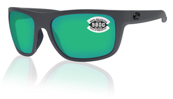 Costa Del Mar Broadbill Matte Gray Green Mirror 580 Glass Polarized Lens