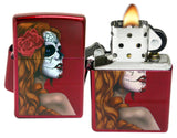 Zippo 28830 Day of Dead Girl Rose Candy Apple Red Lighter