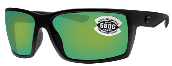 Costa Del Mar Reefton Blackout Frame Green Mirror 580 Glass Polarized Lens