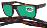 Costa Del Mar Slack Tide Tortoise Frame Green Mirror 580G Glass Polarized Lens