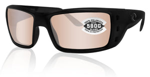 Costa Del Mar Permit Blackout Frame Copper Silver Mirror 580G Glass Polarized Lens