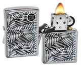 Zippo Lighter 29885 Line Grid Design Brushed Chrome Finish Windproof New