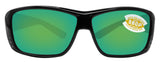 Costa Del Mar Cat Cay Shiny Black Frame Green Mirror 580P Plastic Polarized Lens