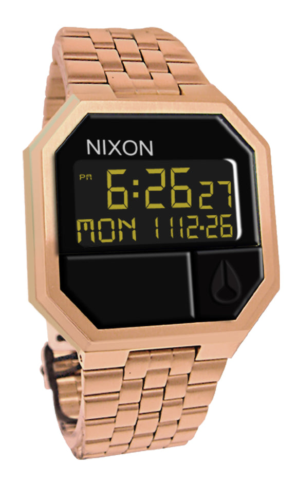 Nixon A158897 Re-Run Black Digital Rose Gold Stainless Steel Bracelet Watch New
