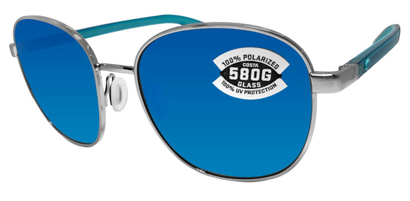 Costa Del Mar Egret Brushed Silver Frame Blue Mirror 580 Glass Polarized Lens