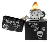 Zippo 29091 Black Matte Danger Skeleton Live Something Die For Nothing Lighter