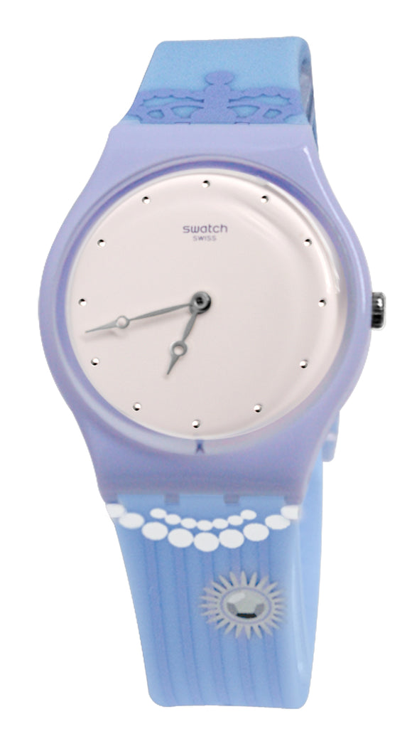Swatch GV131 Curtsy Pink Dial Purple Case Blue Band Watch New