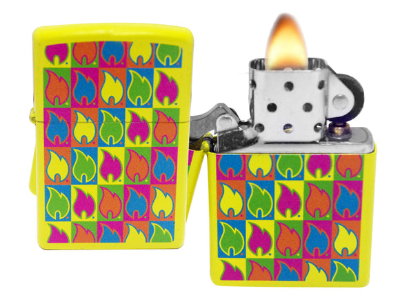 Zippo 28954 Flame Logo Neon Yellow Colorful Windproof Lighter