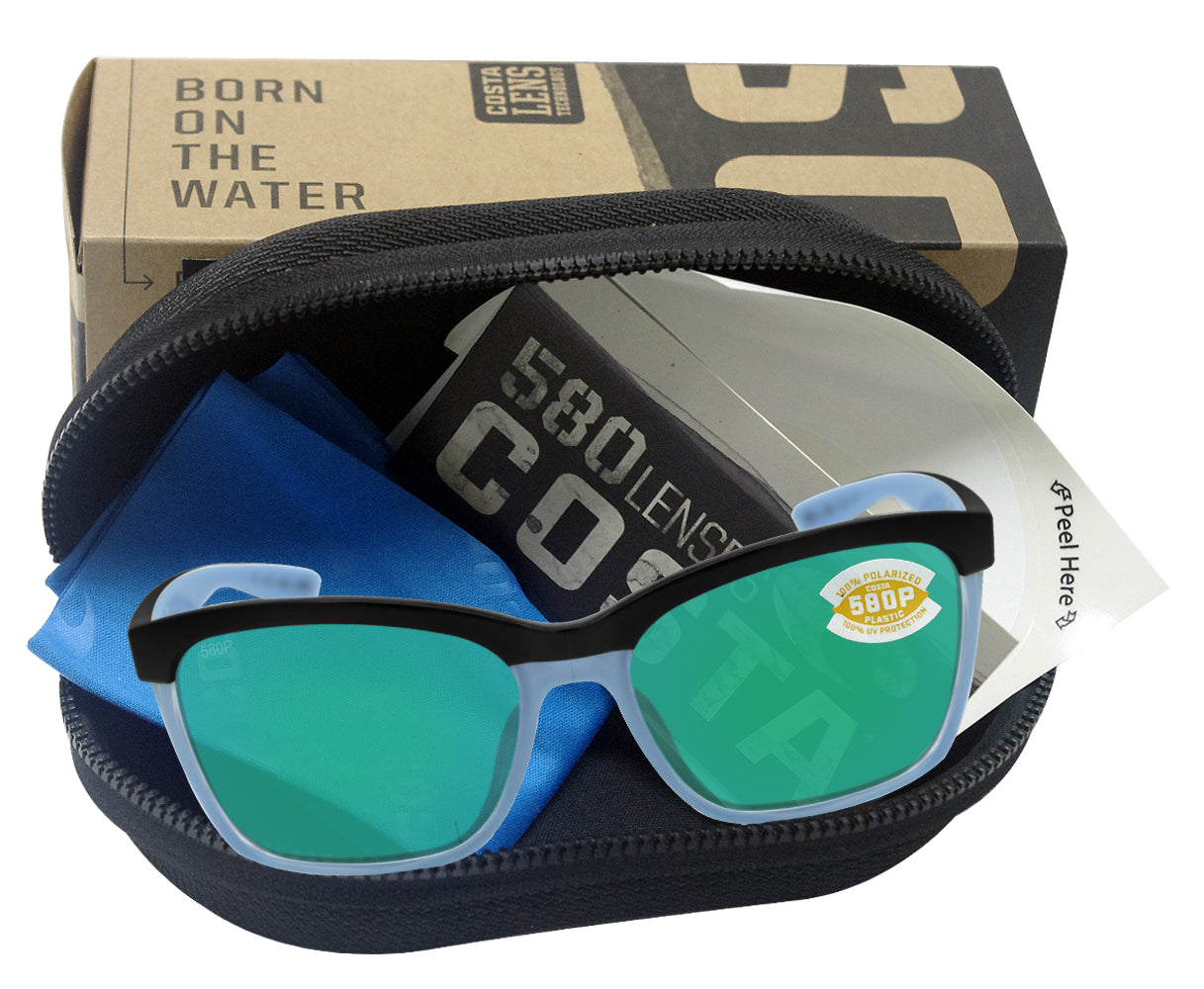 Costa Del Mar Anaa Sunglasses-Black Crystal Lt Blue Frame//Green Mirror 580P Lens