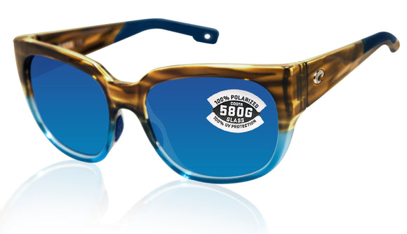 Costa Del Mar Waterwoman Shiny Wahoo Frame Blue Mirror 580 Glass Polarized Lens