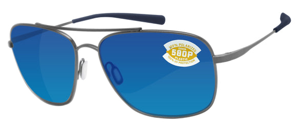 Costa Del Mar Canaveral Brushed Gray Blue Mirror 580P Plastic Polarized Lens