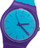 Swatch GV128 Mixed Up Blue Analog Dial Purple Silicone Rubber Band Unisex Watch