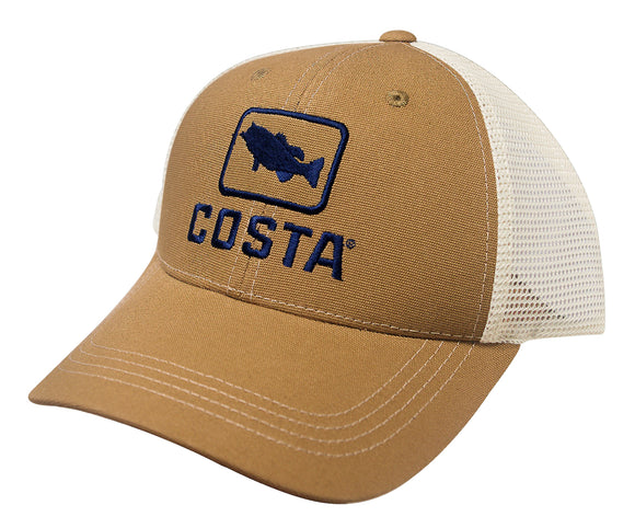 Costa Del Mar Bass Trucker Hat Working Brown Cotton Adjustable Cap HA18WB NEW