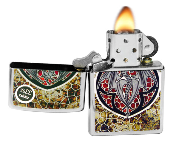 Zippo 29253 Anne Stokes Dragon Shine High Polish Chrome Fusion Finish Lighter
