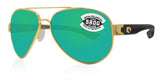 Costa Del Mar South Point Gold Frame Green Mirror 580G Glass Polarized Lens