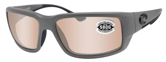 Costa Del Mar Fantail Gray Frame Copper Silver Mirror 580G Glass Polarized Lens