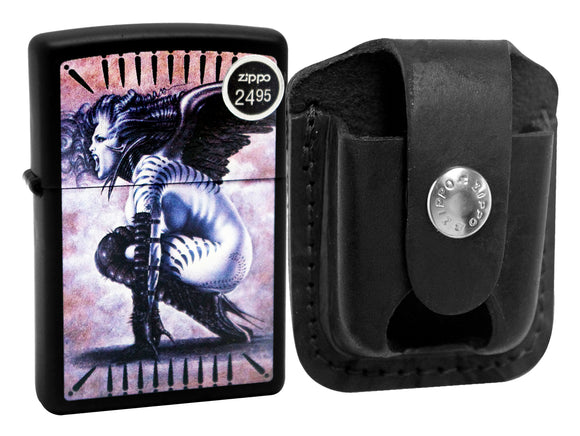 Zippo 29474 Black Matte Finish Lighter + LPTBK Black Leather Pouch Clip