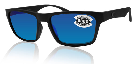 Costa Del Mar Hinano Blackout Frame Blue Mirror 580G Glass Polarized Lens
