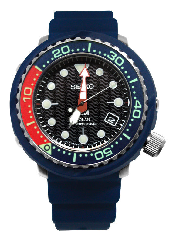 Seiko SNE499 PADI Prospex Solar Dive Black Date Dial Blue Rubber Band Watch