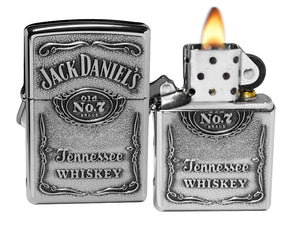 Zippo 250JD.427 Jack Daniels Label Pewter Emblem Classic Spirits Lighter