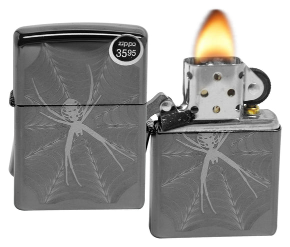 Zippo 29733 Spider in Web Black Ice Chrome Finish Windproof Pocket Lighter New