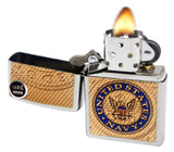 Zippo 29384 United States Navy Street Chrome Finish Windproof Pocket Lighter New